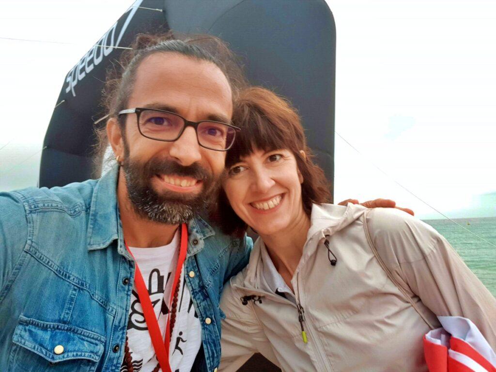 Daddo e Silvia Comeche, responsabile di Win Sports Factory SL, il team organizzatore del Barcelona Triathlon