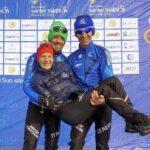 I tre azzurri al traguardo della 1^ tappa dell'ITU Winter Triathlon World Cup 2020, ad Harbin (Cina): Sandra Mairhofer, Daniel Antonioli e Giuseppe Lamastra (Foto ©FiTri).