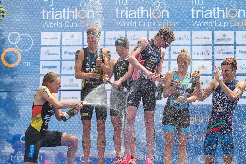 Il podio dell'ITU World Cup Triathlon Cagliari 2019 (Foto: FITri.it/Tiziano Ballabio)