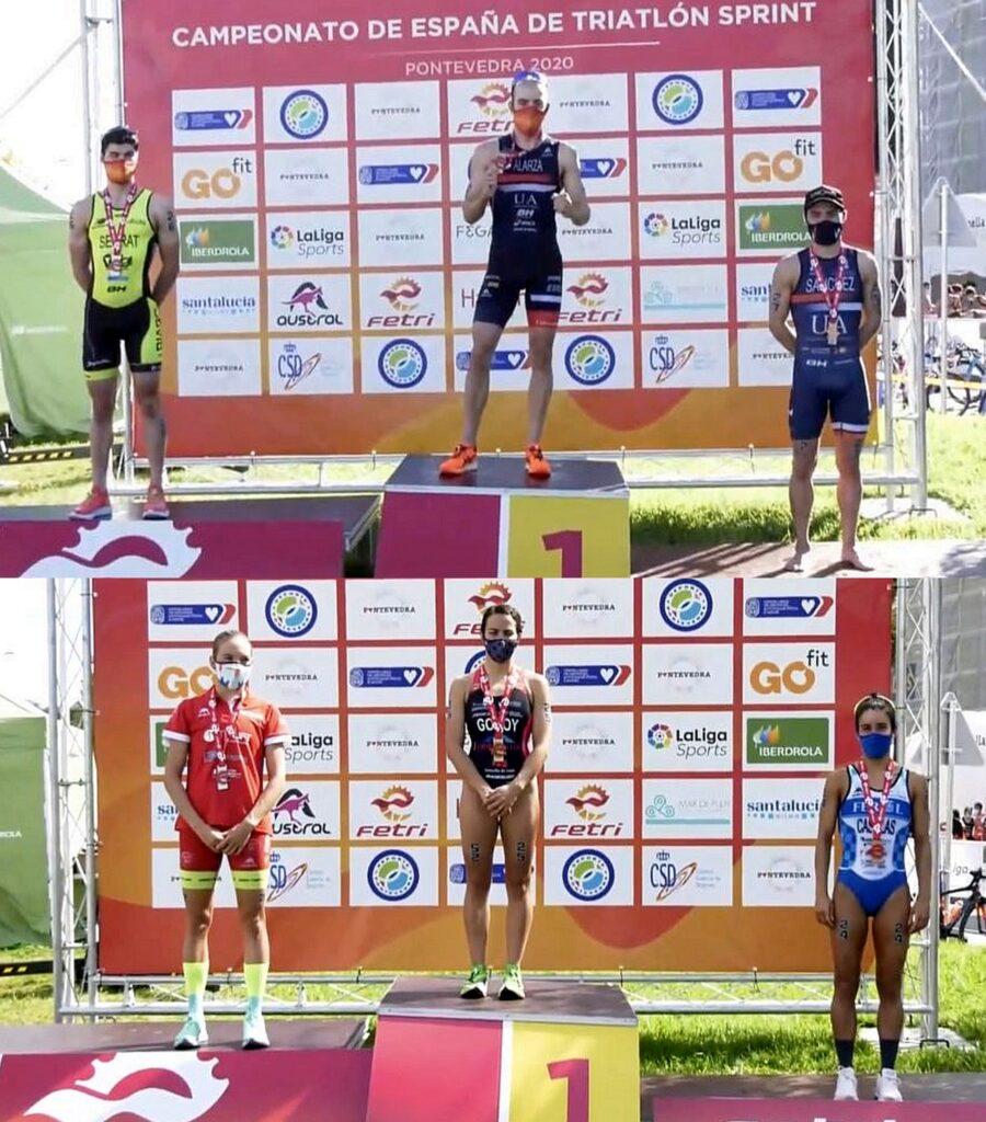 Il podio del Campionato Spagnolo di triathlon sprint 2020 vinto da Anna Godoy e Fernando Alarza