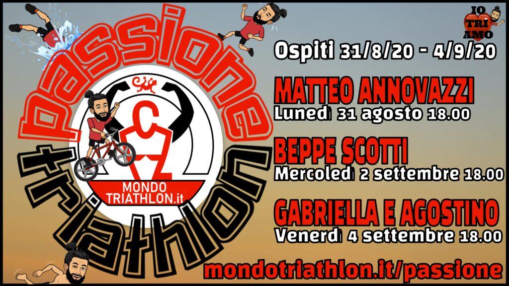 Passione Triathlon, il palinsesto dal 31 agosto al 4 settembre 2020, con Matteo Annovazzi, Beppe Scotti, Gabriella Bois e Agostino Ramella