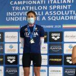 Il podio femminile del Campionato Italiano di Triathlon Sprint 2020 a Lignano Sabbiadoro, vince Angelica Olmo (Carabinieri), davanti a Luisa Iogna Prat (DDS) e Sharon Spimi (The Hurricane)