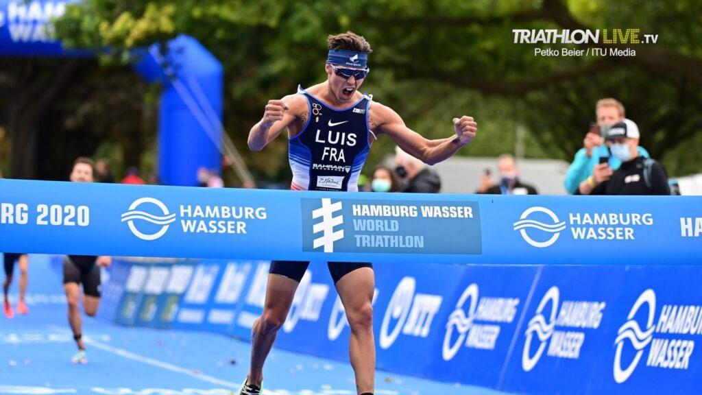 La vittoria di Vincent Luis al 2020 Hamburg Wasser World Triathlon: per il francese è il secondo titolo iridato consecutivo