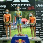Podio femminile XTERRA Czech Short Track 2020, vince Laura Philipp, Marta Menditto 3^