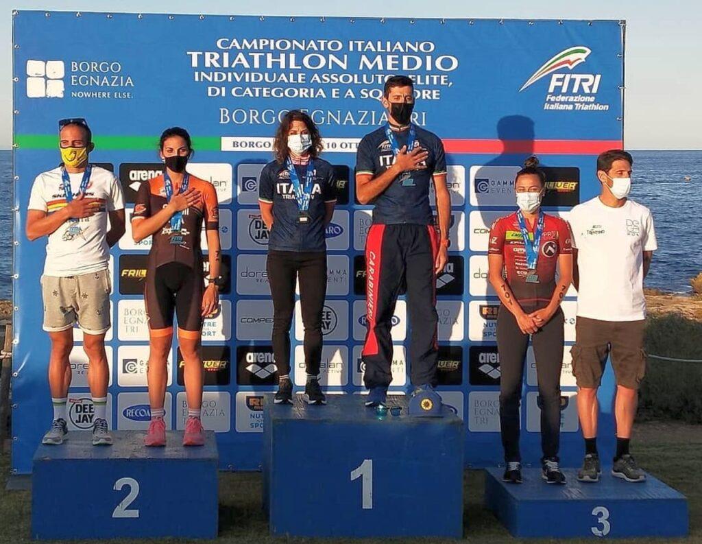 Campionati Italiani Triathlon Medio, Borgo Egnazia Half Tri, 10 ottobre 2020, podio Assoluti donne e uomini