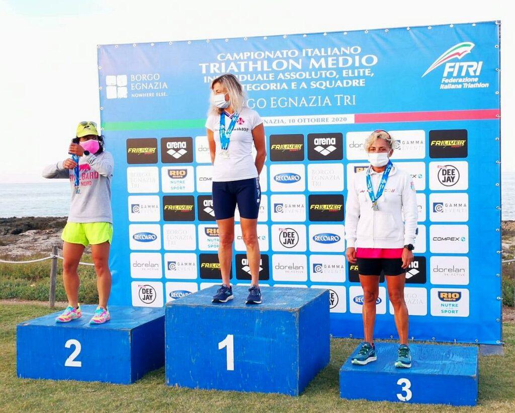 Campionati Italiani Triathlon Medio, Borgo Egnazia Half Tri, 10 ottobre 2020, podio Master 4 donne