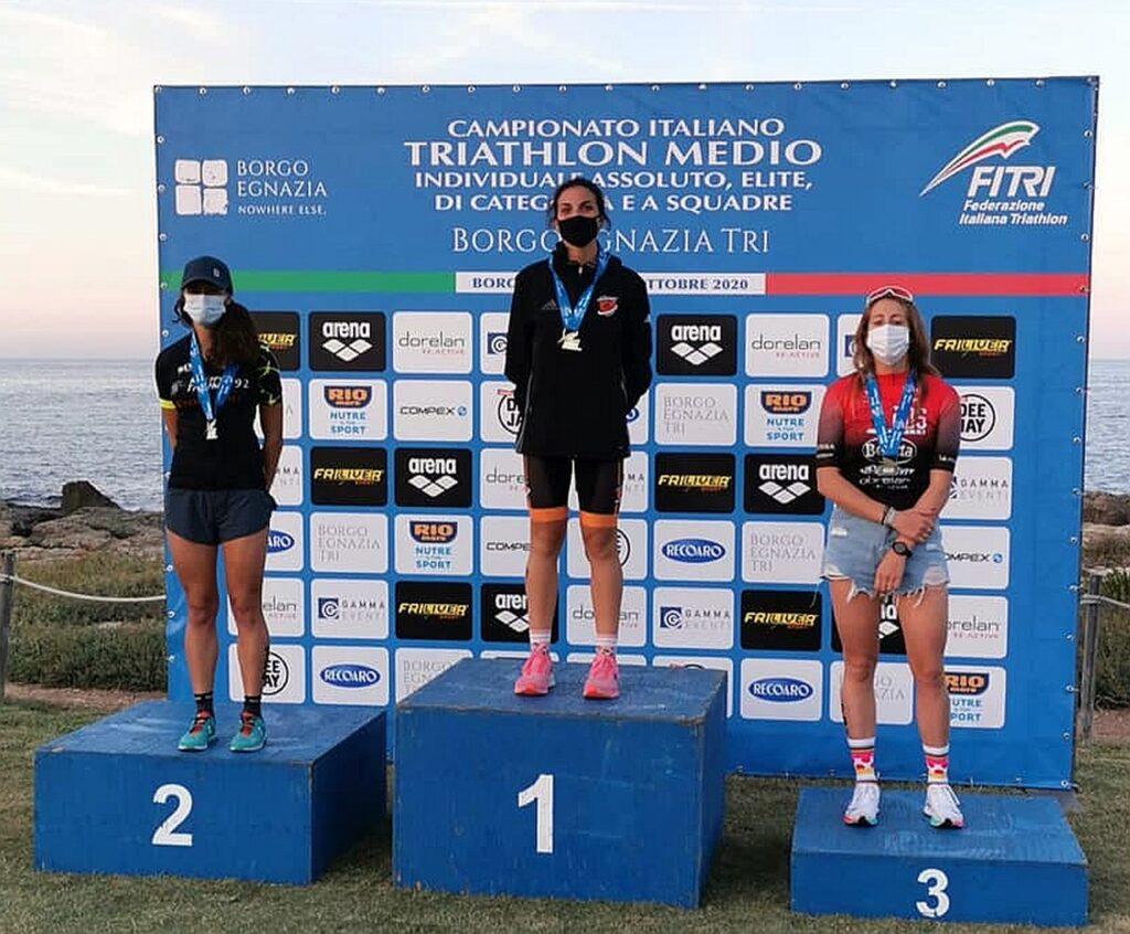 Campionati Italiani Triathlon Medio, Borgo Egnazia Half Tri, 10 ottobre 2020, podio Senior 1 donne