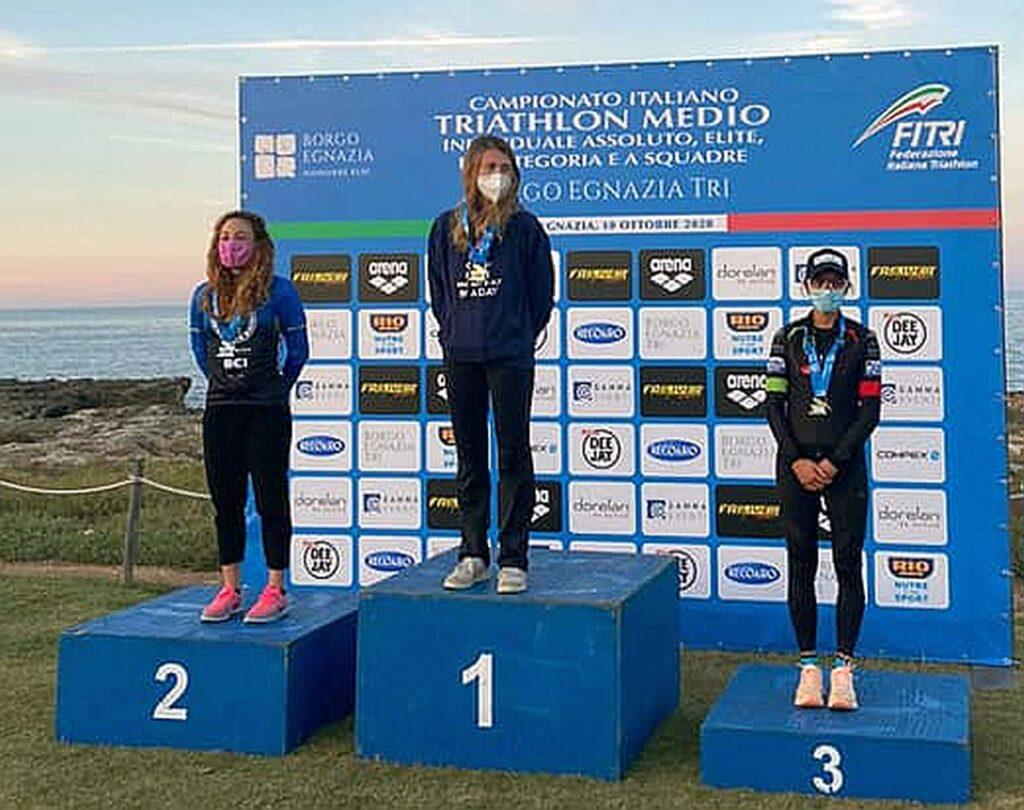 Campionati Italiani Triathlon Medio, Borgo Egnazia Half Tri, 10 ottobre 2020, podio Senior 2 donne
