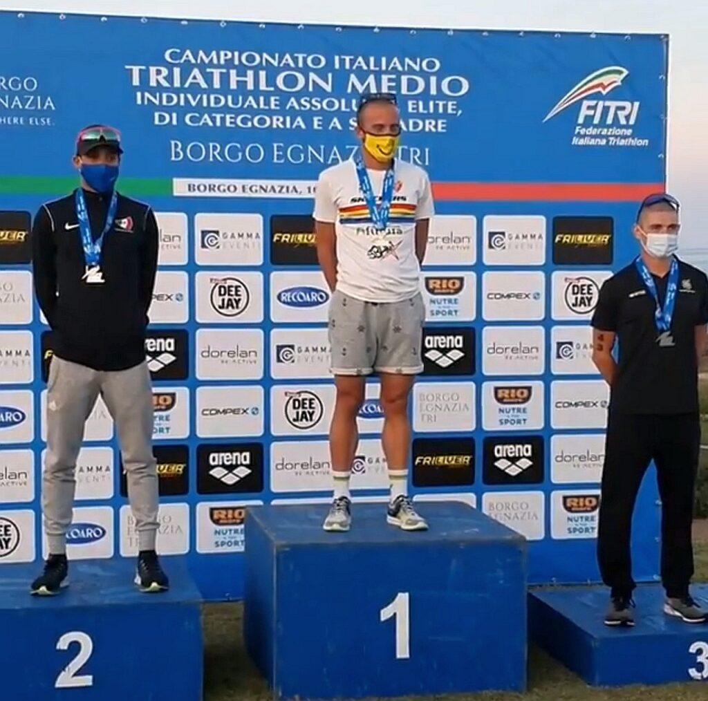 Campionati Italiani Triathlon Medio, Borgo Egnazia Half Tri, 10 ottobre 2020, podio Senior 2 uomini