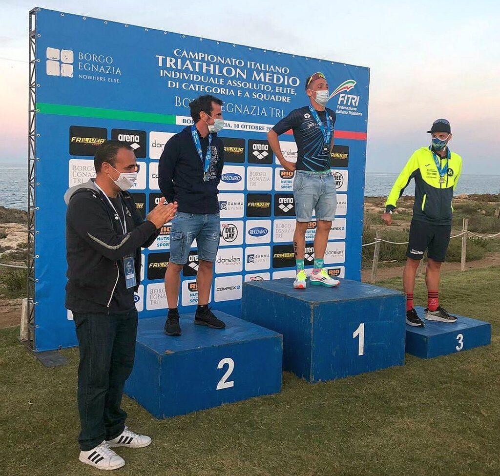 Campionati Italiani Triathlon Medio, Borgo Egnazia Half Tri, 10 ottobre 2020, podio Senior 3 uomini
