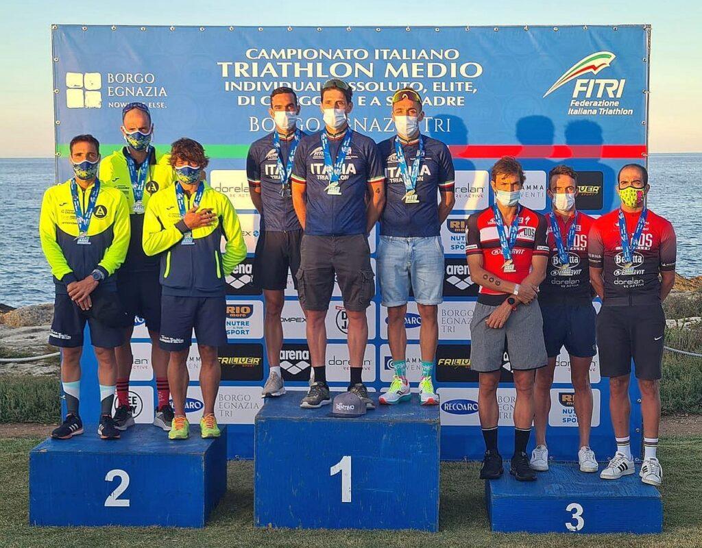 Campionati Italiani Triathlon Medio, Borgo Egnazia Half Tri, 10 ottobre 2020, podio squadre maschili