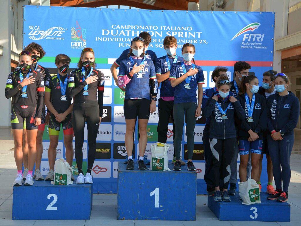 Campionati Italiani Duathlon Caorle 2020, il podio a Squadre, trionfo per la Minerva Roma