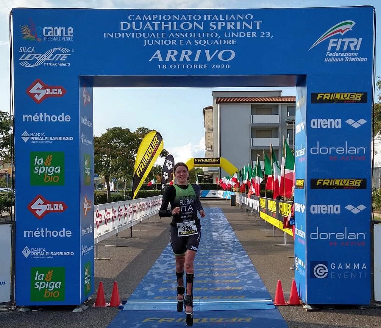 Campionati Italiani Duathlon e Paraduathlon Caorle 2020, taglia la finish line Veronica Yoko Plebani