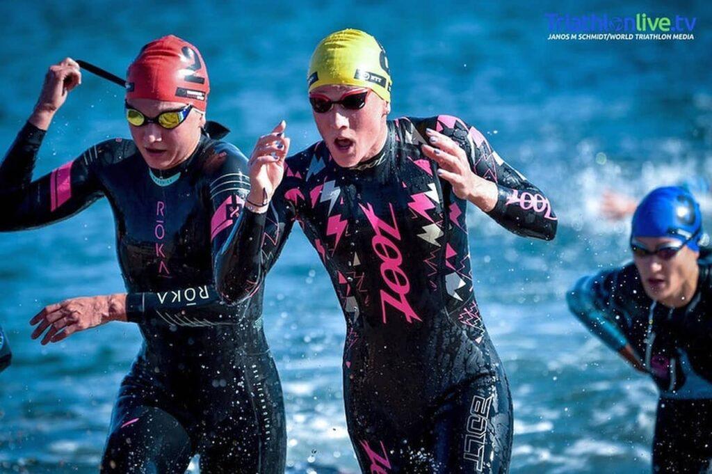 Verena Steinhauser in azione nella prova di Coppa del Mondo di Arzachena 2020 (Foto J. Schmidt / World Triathlon Media)