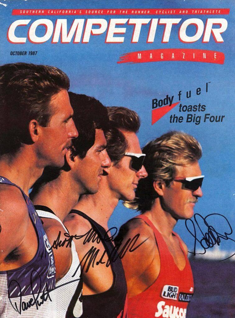 """La copertina di """"Competitor"""" dell'ottobre 1987 con i """"Big Four"""": da sinistra, Dave Scott, Scott Molina, Mark Allen e Scott Tinley"""