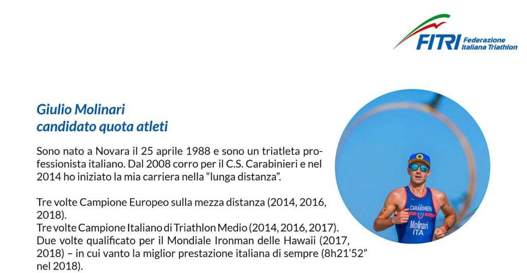 Giulio Molinari candidato quota Atleti alle elezioni FITri del 14 marzo 2021
