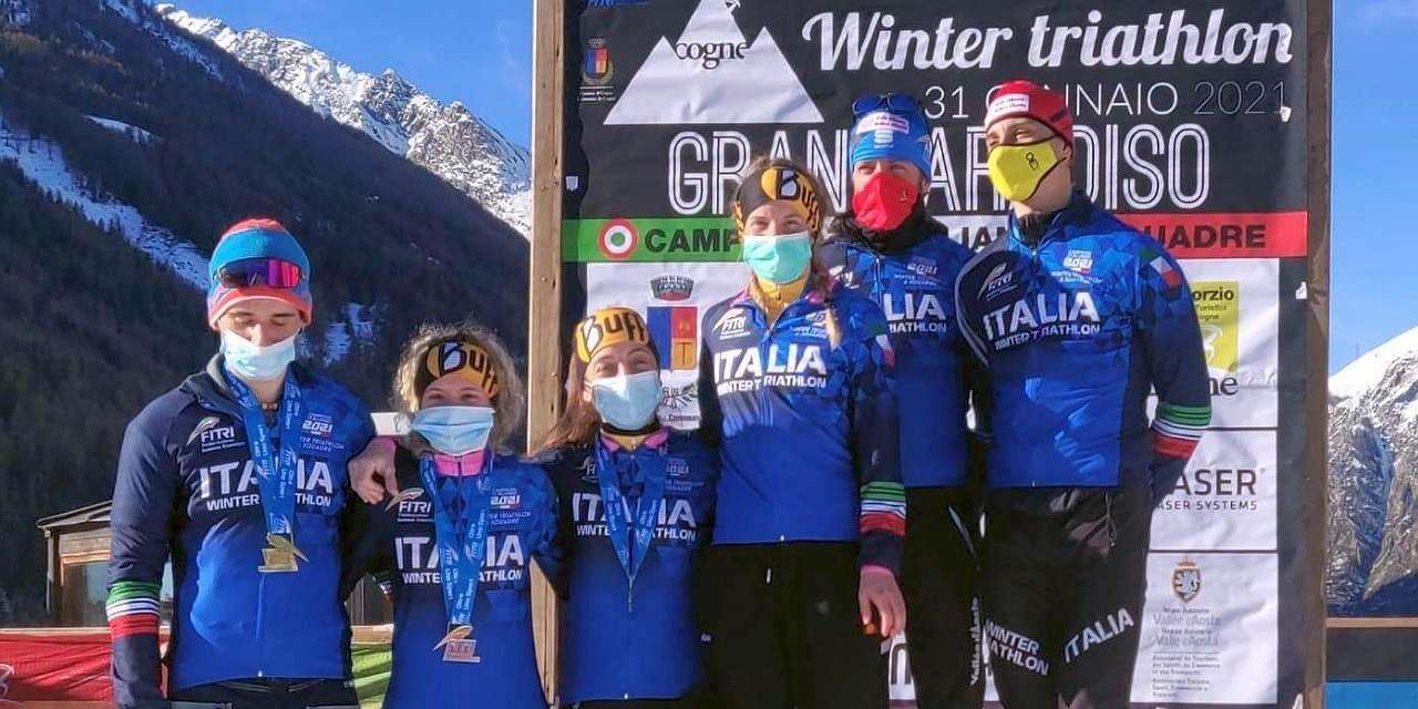 Sandra Mairhofer e Giuseppe Lamastra trionfano nel Gran Paradiso Winter Triathlon di Cogne, tricolori per Granbike e Trisports.it, i risultati