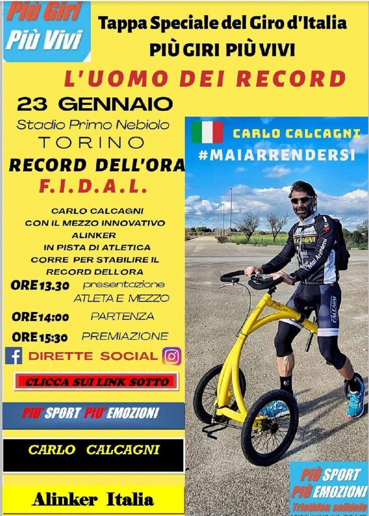 Locandina Record dell'ora Carlo Calcagni con Alinker, 23 gennaio 2021, Torino