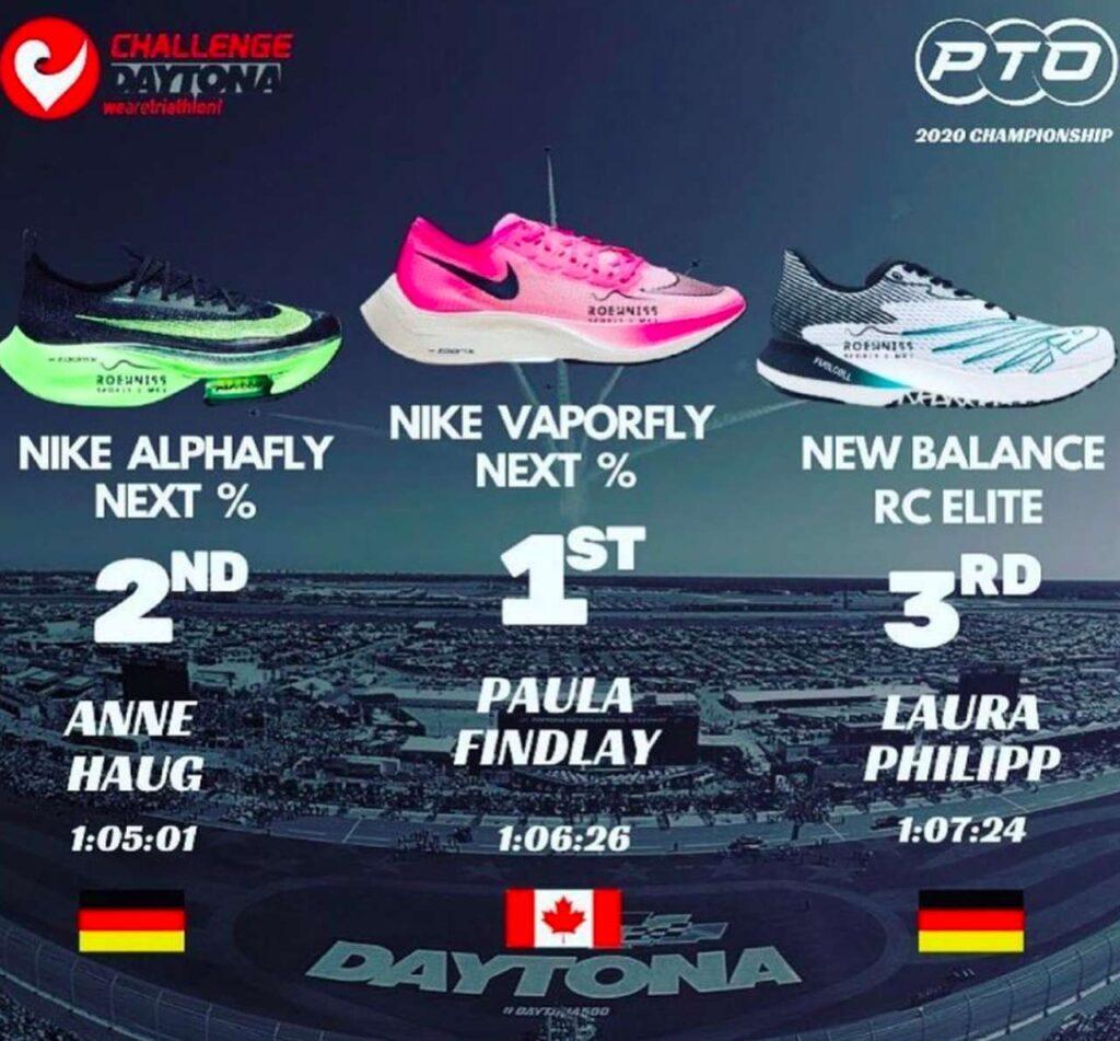 Il podio femminile delle scarpe più veloci della PTO Championship 2020 del Challenge Daytona