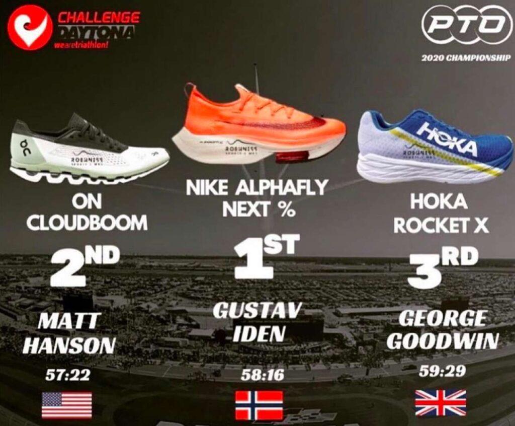 Il podio maschile delle scarpe più veloci della PTO Championship 2020 del Challenge Daytona