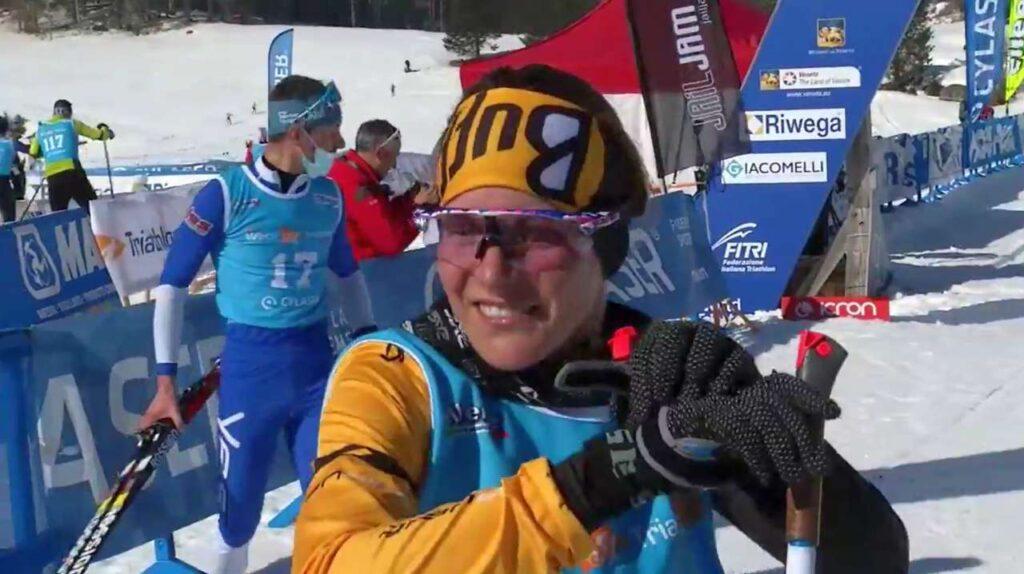 Sandra Mairhofer è ancora campionessa italiana di winter triathlon grazie alla vittoria ad Asiago del 21 febbraio 2021
