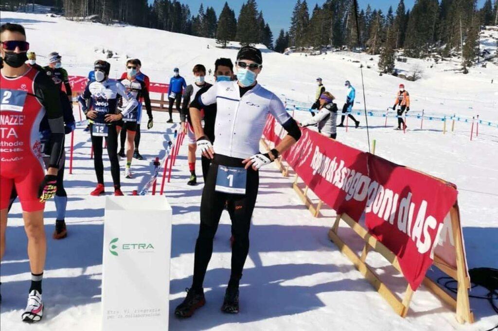 Massimo Cigana al via del Winter Cross Duathlon di Asiago del 20 febbraio 2021