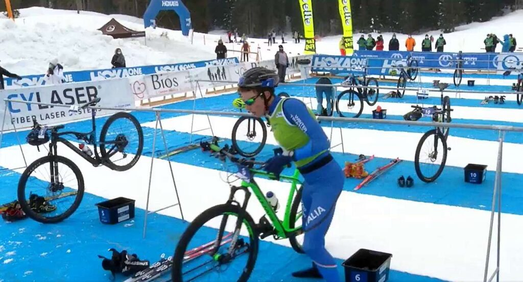 Franco Pesavento in azione all'Asiago Winter Triathlon World Cup 2021
