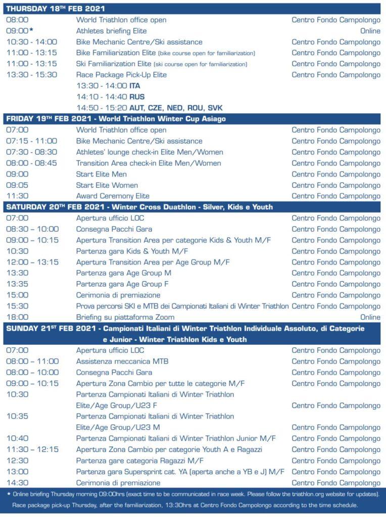 Programma Asiago Winter Triathlon Festival 2021