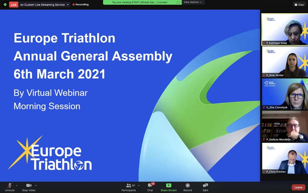 Europe Triathlon Annual General Assembly 6 marzo 2021