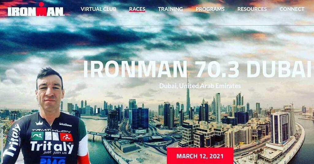 Domenico Passuello al via dell'Ironman 70.3 Dubai 2021