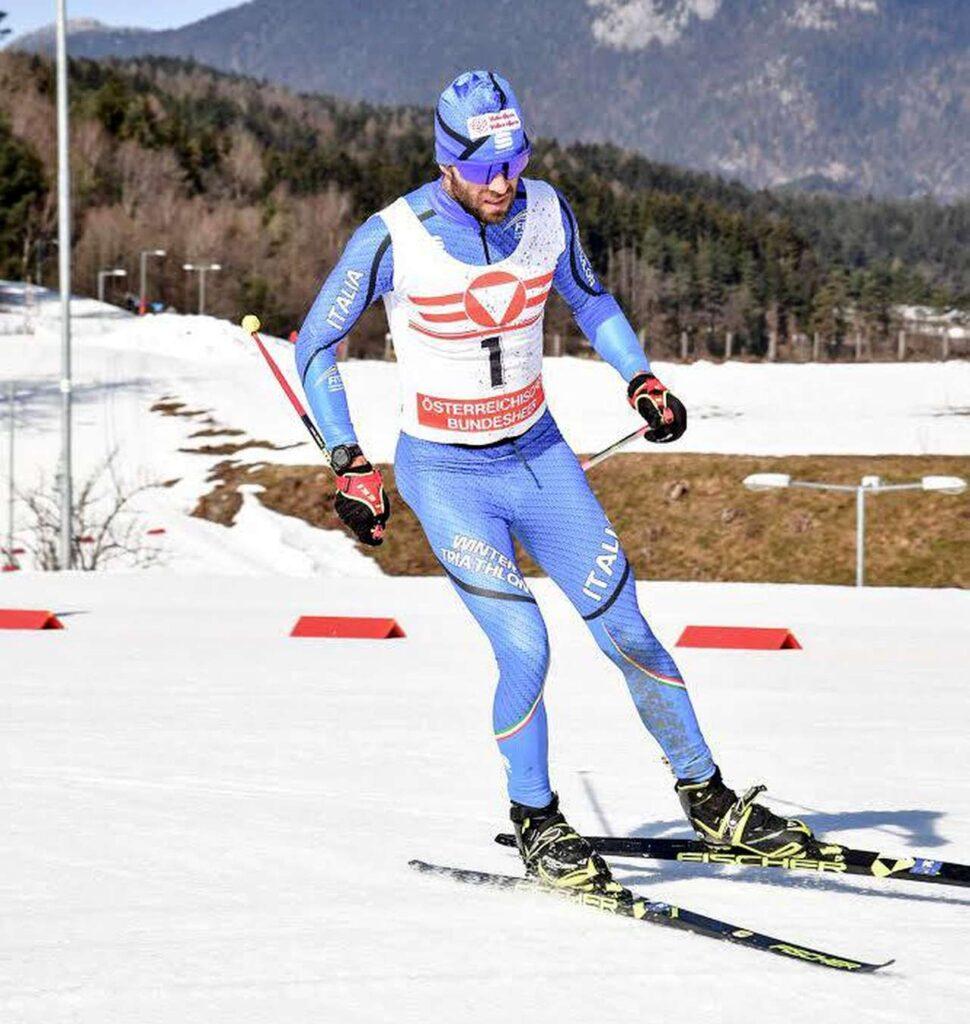 L'azzurro Giuseppe Lamastra in azione al Karnten Iceman Wintertriathlon 2021