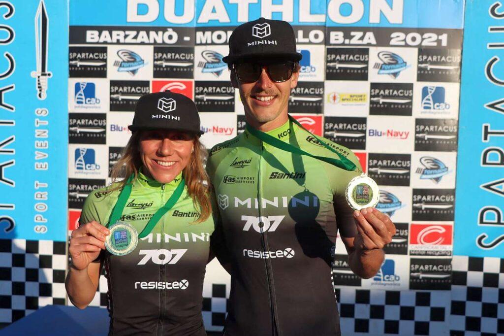 Giorgia priarone e Gregory Barnaby (707 Triathlon Minini Team) vincono il Duathlon di Barzanò 2021, prima tappa del circuito FITri