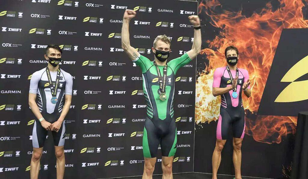 Il podio maschile dell'SLT Arena Games London 2021 vinto dal belga Marten Van Riel