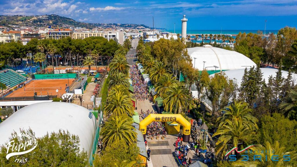 L'area di partenza dei Campionati Italiani di Duathlon Sprint 2021 di San Benedetto del Tronto