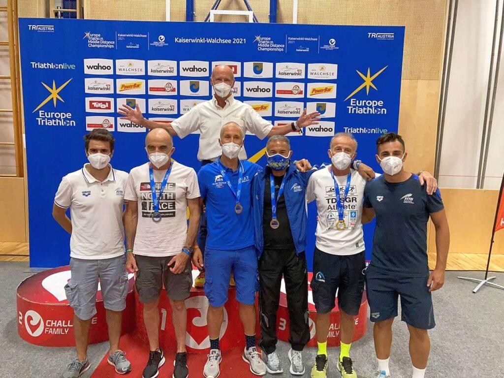 Agli Europei Aquathlon Age Group 2021 di Walchsee, le medaglie conquistate dagli italiani Giancarlo Lanciaprima, Michele Bellemo, Gianfranco Coppa e Michele Vanzi