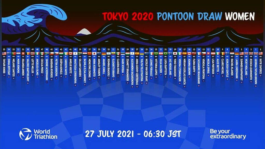 Il pontone di partenza della gara femminile di triathlon a Tokyo 2020